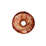The donut with chocolate glaze isolated on white background, watercolor illustration. In hand drawn style Royalty Free Illustration