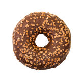Donut with chocolate icing and sprinkles. Top view. Stock Photo