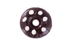 Donut in chocolate with marshmallow. A single chocolate glazed donut with wight marshmallow isolated white background stock images
