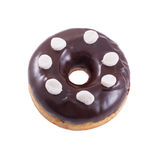 Donut in chocolate with marshmallow. A single chocolate glazed donut with wight marshmallow isolated white background Royalty Free Stock Photo