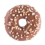 Donut in chocolate with nuts. A single chocolate glazed donut with nuts  white background top view Stock Photography