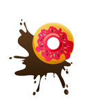 Donut with chocolate splash Royalty Free Stock Photos