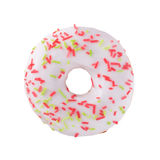 Donut in chocolate with sprinkles. A single white glazed donut with sprinkles isolated white background Royalty Free Stock Photos