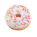 Donut in chocolate with sprinkles. A single white glazed donut with sprinkles isolated white background Royalty Free Stock Image
