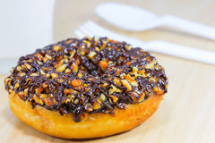 Donut with Chocolate Topping. Donut with Caramel, Macadamia and Chocolate Topping Royalty Free Stock Photo