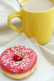 Donut and coffee cup Royalty Free Stock Image