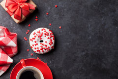 Donut, coffee and gift box Stock Images