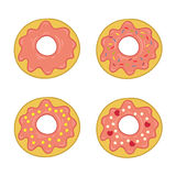 Donut in colored icing, set Royalty Free Stock Images
