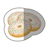 Donut with colored sparks icon Royalty Free Stock Photo