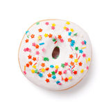Donut with colorful decor. Isolated on white background Royalty Free Stock Photo