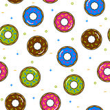 Donut colorful seamless pattern with icing on white background Stock Photography