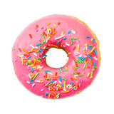 Donut with colorful sprinkles. Top view. Donut with colorful sprinkles isolated on white background. Top view Stock Images