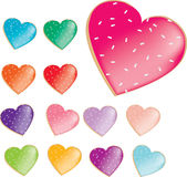 Donut or cookie heart shapes with icing Royalty Free Stock Images