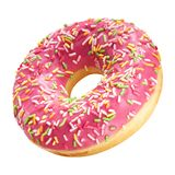 Donut with coral color glaze and colorful sprinkles isolated on white background. One round pink doughnut stock photo
