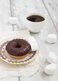 Donut covered in chocolate Royalty Free Stock Photo