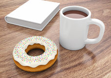 Donut with cup and book Royalty Free Stock Images
