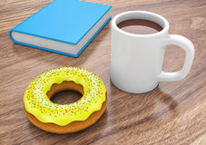 Donut with cup and book Stock Images