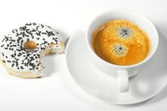 Donut with cup of coffee Stock Photography