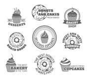 Donut cupcake label royalty free illustration