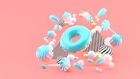 Donut ,Cupcakes ,Macaron,Candy floating among colorful balls on a pink background.- royalty free illustration