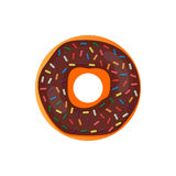 Donut delicious with sprinkles isolated on white background. Vector doughnut icon. Donut delicious with sprinkles isolated on white background. Vector doughnut royalty free illustration