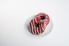 donut or donut with missing bite on a background. Royalty Free Stock Photos