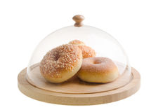 Donut. donut under glass cloche Royalty Free Stock Photography