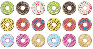 Donut doughnuts different setting set collection taste color gla Stock Image