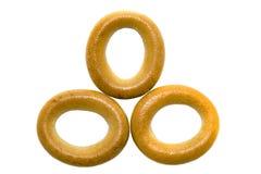 Donut drei auf einem weißen Hintergrund lokalisiert Stockfotografie