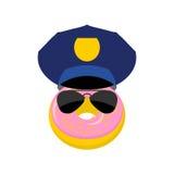 Donut in einer Polizeikappe und -gläsern Vektorillustrationspolizist Stockfoto