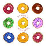 Donut flat vector set isolated on white background Stock Photos