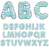 Donut font, tasty alphabets. Isolated objects. Stock Photos