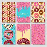 Donut food card. Sweet life hand lettering design, pastry having pleasant taste and frosting decor. Vector flat style cartoon illustration stock illustration