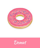 Donut  food isolated on white background. Fresh donut with pink frosting Stock Photos