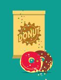 Donut with frosting poster Royalty Free Stock Images