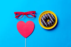 Donut, glasses and toy Royalty Free Stock Photos