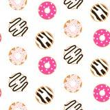 Donut glazed seamless vector pattern. Stock Image