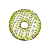 Donut with green glaze. Hand drawn marker illustration. Royalty Free Stock Photo