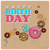 Donut greeting card. Royalty Free Stock Image