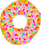 Donut. Hand drawn donut with lots of colorful sugary decorations atop of it Stock Photo