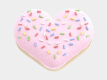 Donut Heart. Pink cream. isolated on white background. 3D illustration Royalty Free Stock Image