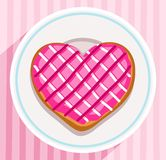 Donut-heart on a plate, coloured picture. Pink donut in the shape of a heart lies on a saucer. Vector picture. Color flat illustration. Postcard for Valentine's Stock Images