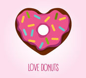 Donut in heart shape. Vector flat style illustration of donut in heart shape with glaze and decorative sprinkles. Logo concept, top view. Love donuts Royalty Free Stock Photo