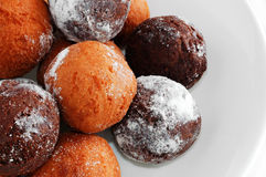 Donut Holes. In white bowl, isolated Stock Image