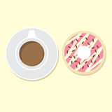 Donut And Hot Coffee Royalty Free Stock Photo