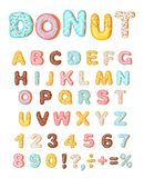 Donut icing latters, font of donuts. Bakery sweet alphabet. Letters and numbers. Donut alphabet and numbers, isolated on