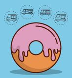 Food truck design. Donut icon and food trucks icons around over blue background colorful design vector illustration Royalty Free Stock Photos