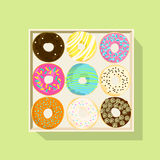 Donut icon set, Flat vector illustration Stock Images