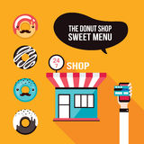 Donut icons Delicious dessert Food ordering Cafe shop facade Royalty Free Stock Image