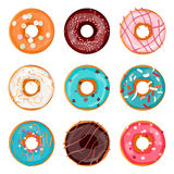 Donut illustration. Donut isolated on a light background. Donut icon in a flat style. Donuts into the glaze set. Donut set with sprinkles isolated on white Stock Photo